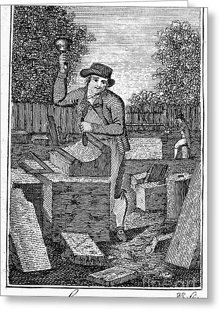 Colonial Man Greeting Cards - Colonial Stonemason Greeting Card by Granger