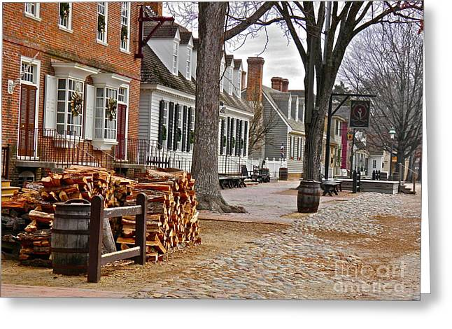Colonial Greeting Cards - Colonial Street Scene Greeting Card by E Robert Dee