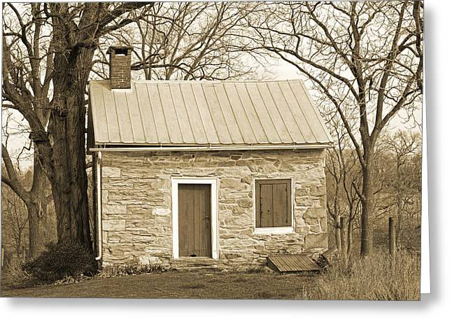 Tin Roof Greeting Cards - Colonial Summer Kitchen Greeting Card by John Stephens