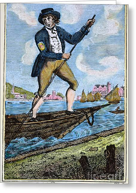 Colonial Man Greeting Cards - COLONIAL WATERMAN, 18th C Greeting Card by Granger