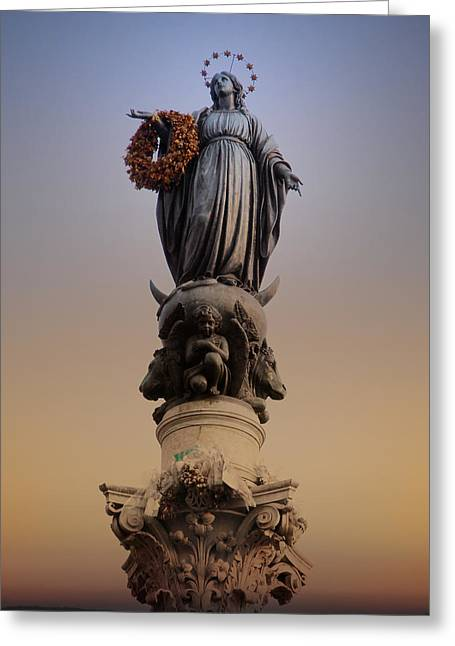 Virgin Digital Art Greeting Cards - Colonna dell Immacolata Rome Italy Greeting Card by Bill Cannon