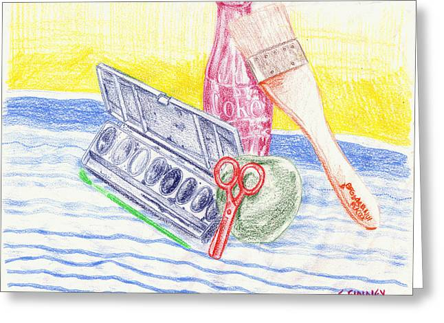 Scissors Drawings Greeting Cards - Color Block Still Life Greeting Card by Corey Finney