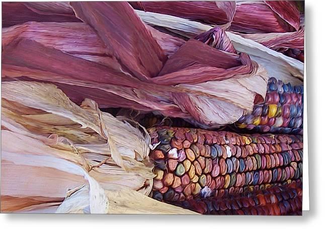 Autumn Art Mixed Media Greeting Cards - Color Corn Greeting Card by Carol Cavalaris