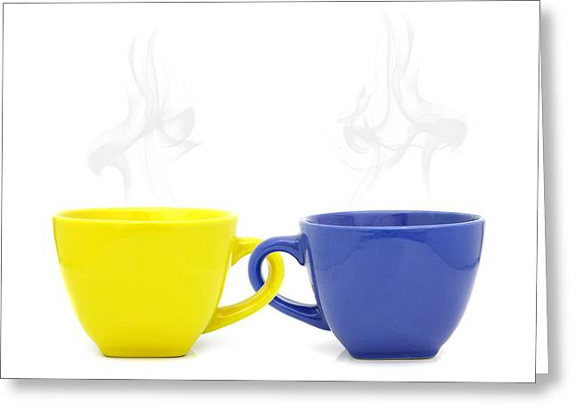 Natural Ceramics Greeting Cards - Color cup with hot drink on white background Greeting Card by Natthawut Punyosaeng