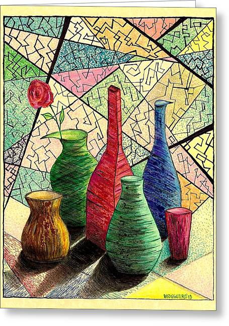 Interior Still Life Drawings Greeting Cards - Color drawing of Vases with flower Greeting Card by Mario  Perez