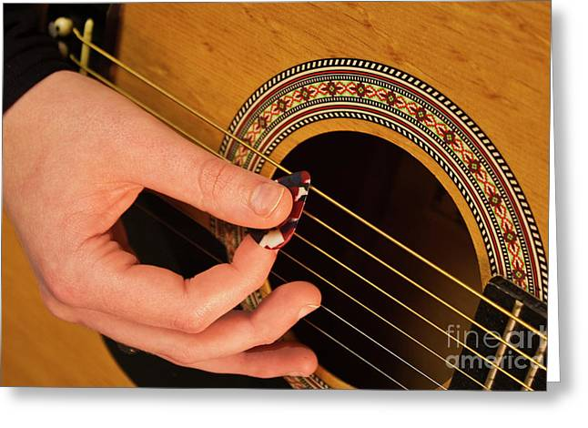 Color Guitar Picking Greeting Card by Michael Waters