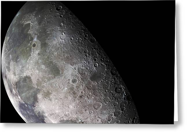 Mare Serenitatis Greeting Cards - Color Mosaic Of The Earths Moon Greeting Card by Stocktrek Images