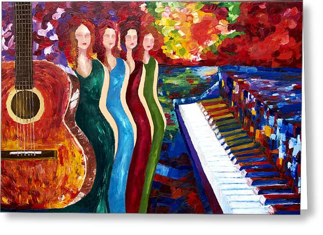 Pallet Knife Greeting Cards - Color of Music Greeting Card by Yelena Rubin