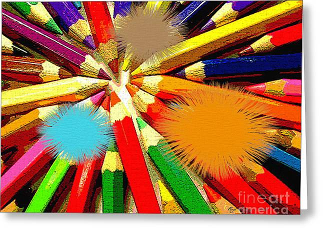 Contemporary Greeting Cards - Color Points and Spots Greeting Card by Rod Seeley