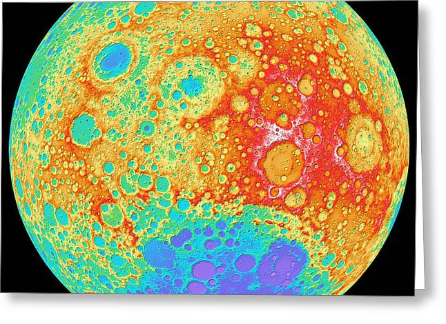 Relief Map Greeting Cards - Color Shaded Relief Of The Lunar Greeting Card by Stocktrek Images