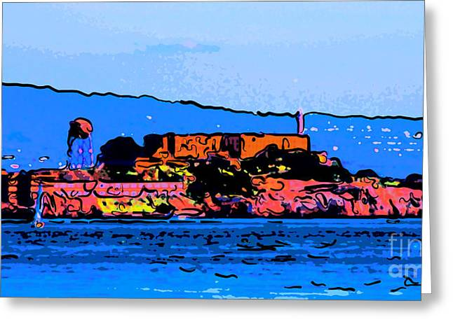 Panoramic Ocean Digital Greeting Cards - Color Sketch of Alcatraz in San Francisco Greeting Card by Wingsdomain Art and Photography