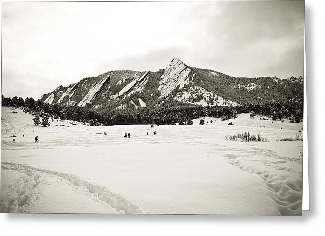 Foot-step Greeting Cards - Colorado Boulder Flatirons  Greeting Card by Marilyn Hunt