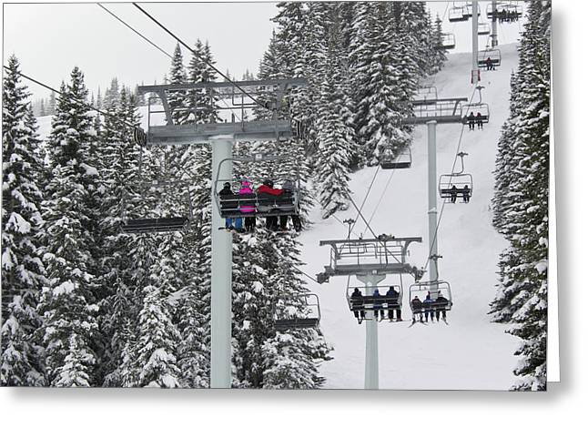 Chairlift Greeting Cards - Colorado Chair Lift during Winter Greeting Card by Brendan Reals