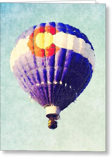 Colorado Flag Greeting Cards - Colorado Flag Hot Air Balloon Greeting Card by David G Paul