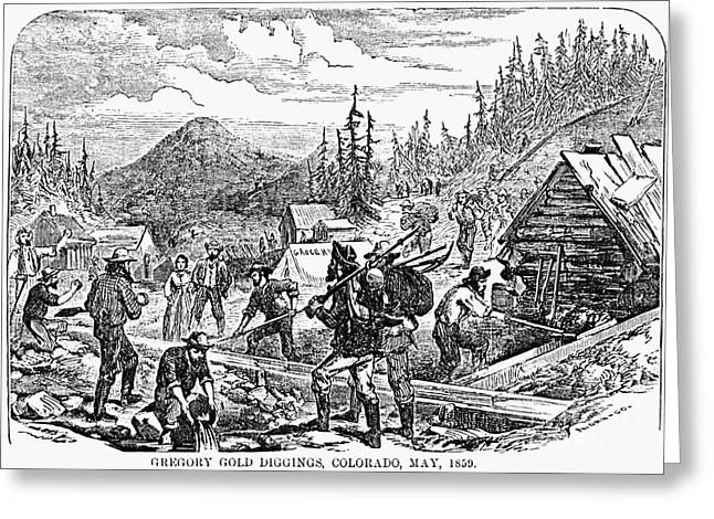 Log Cabins Greeting Cards - Colorado: Gold Mining, 1859 Greeting Card by Granger