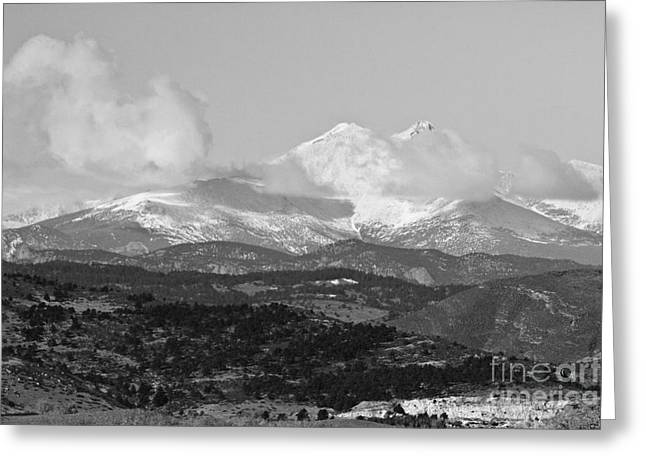 Colorado Mountain Prints Greeting Cards - Colorado Longs Peak Circling Clouds  BW Greeting Card by James BO  Insogna
