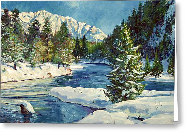 Snow Scene Paintings Greeting Cards - Colorado Pines Greeting Card by David Lloyd Glover