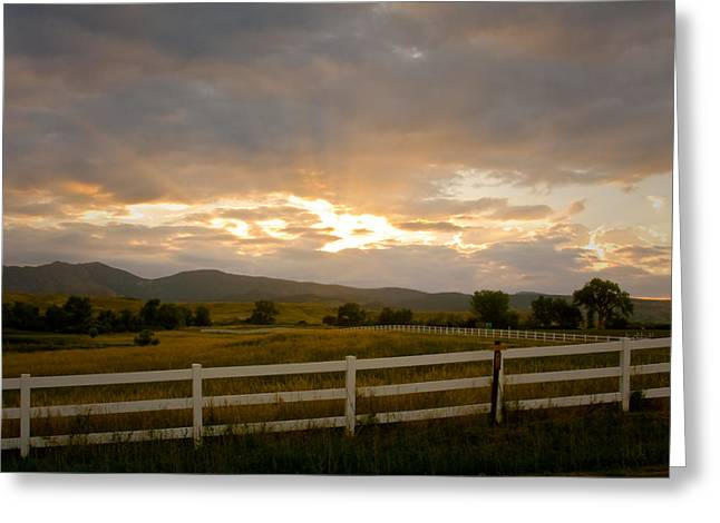 Sunset Greeting Cards Greeting Cards - Colorado Rocky Mountain Country Sunset Greeting Card by James BO  Insogna