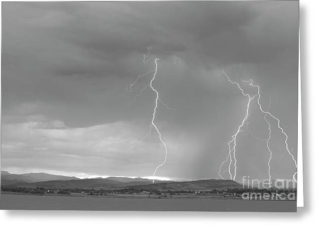 Storm Prints Greeting Cards - Colorado Rocky Mountains Foothills Lightning Strikes 2 BW Greeting Card by James BO  Insogna