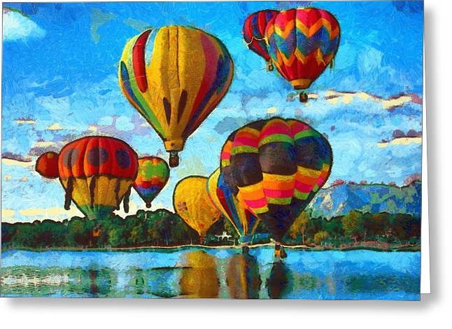 .freedom Mixed Media Greeting Cards - Colorado Springs Hot Air Balloons Greeting Card by Nikki Marie Smith