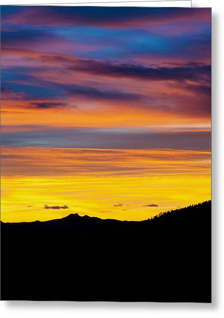 Tebow Greeting Cards - Colorado Sunrise -Vertical Greeting Card by Bronze Riser