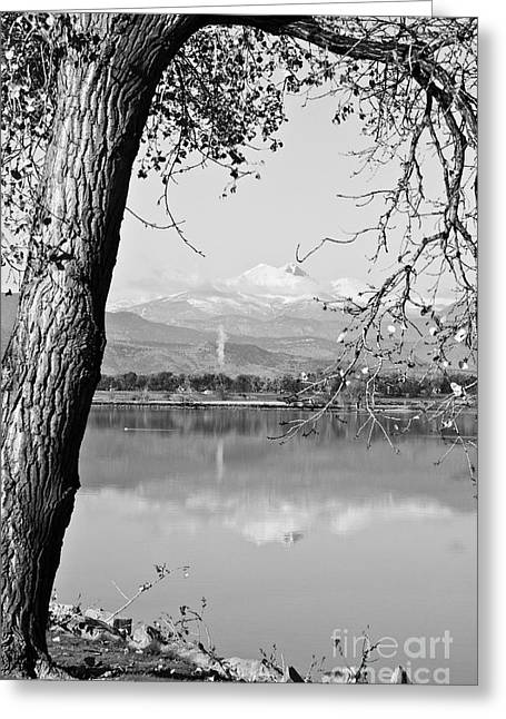 Colorado Mountain Prints Greeting Cards - Colorado Twin Peaks Reflections in Black and White Greeting Card by James BO  Insogna