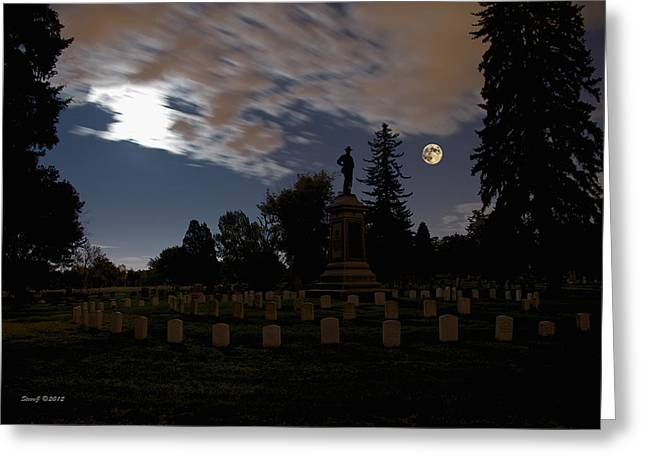 Colorado Volunteers Under The Full Moon Greeting Card by Stephen  Johnson