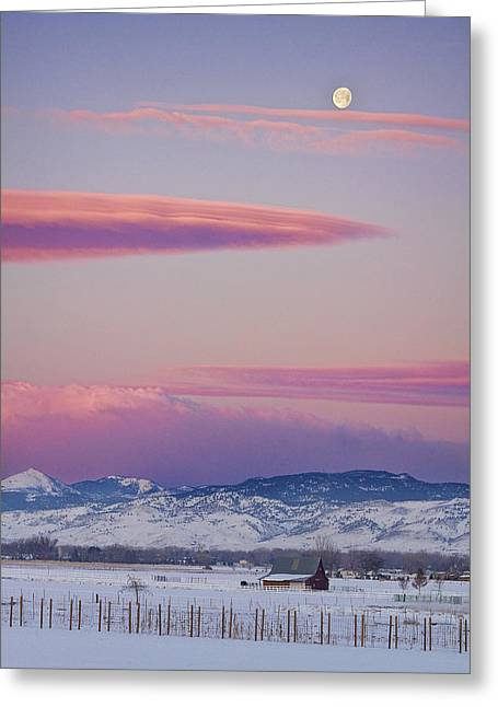 Colorado Winter Moon And Sunrise Greeting Card by James BO  Insogna