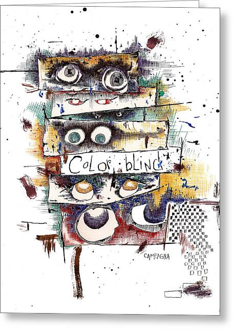 Thin Drawings Greeting Cards - Colorblind Greeting Card by Teddy Campagna