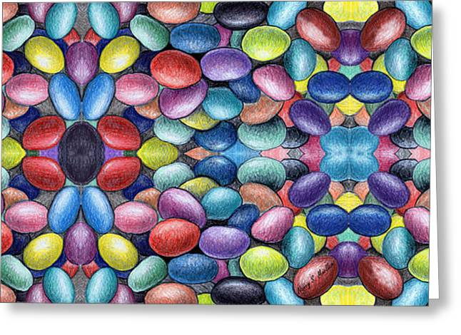 Colored Beans Design Greeting Card by Nancy Mueller