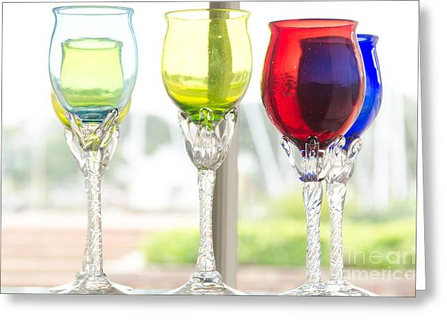 Shiny Glass Art Greeting Cards - Colored Glasses Greeting Card by Yurix Sardinelly