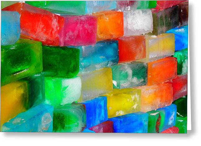 Bunt Greeting Cards - Colored Ice Bricks Greeting Card by Juergen Weiss