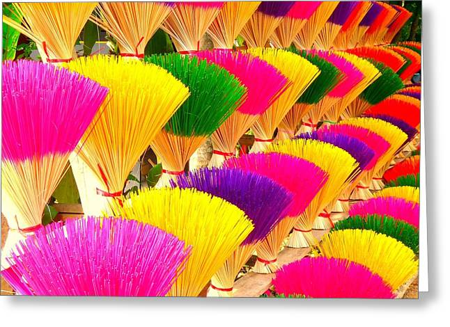 Asian Market Greeting Cards - Colored Incense Greeting Card by Danny Van den Groenendael