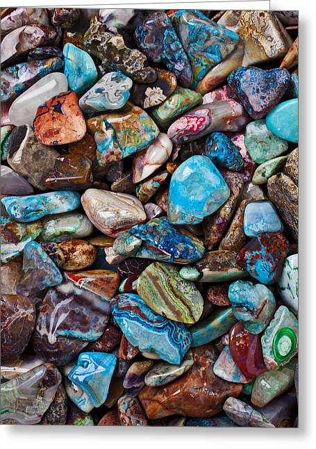 Colored Stones Greeting Cards - Colored Polished Stones Greeting Card by Garry Gay