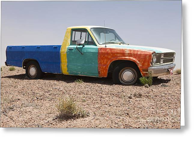 Scrub Brush Greeting Cards - Colorful Abandoned Truck in the Desert Greeting Card by Paul Edmondson