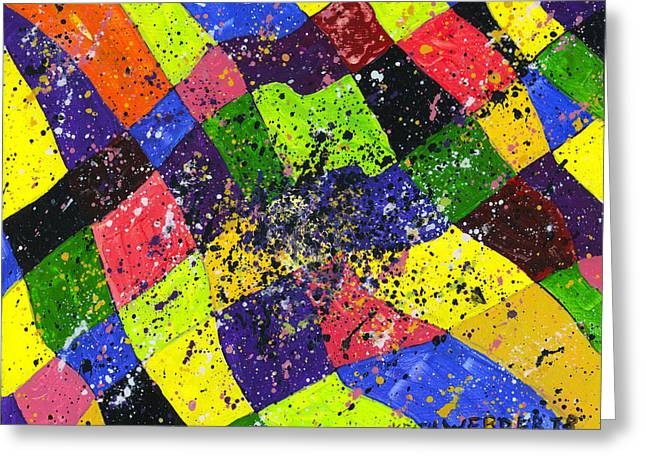 Geometric Image Greeting Cards - Colorful Abstract Modern art Painting Greeting Card by Keith Webber Jr