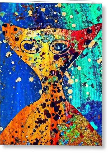 Extraterrestrial Greeting Cards - Colorful Alien Greeting Card by Carol Leigh