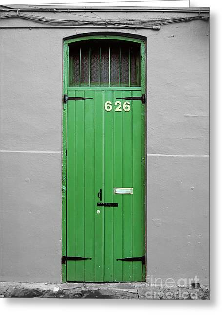 Travelpixpro Greeting Cards - Colorful Arched Doorway French Quarter New Orleans Color Splash Black and White Greeting Card by Shawn O
