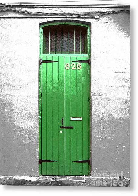 French Doors Greeting Cards - Colorful Arched Doorway French Quarter New Orleans Color Splash Black and White with Film Grain Greeting Card by Shawn O