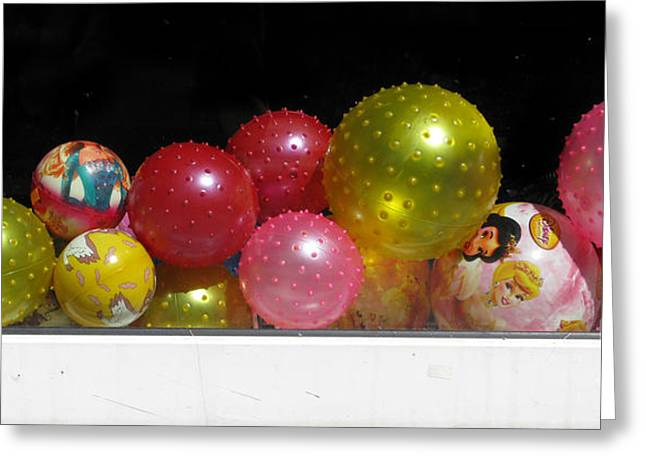 Toy Shop Greeting Cards - Colorful Balls In The Shop Window Greeting Card by Ausra Paulauskaite