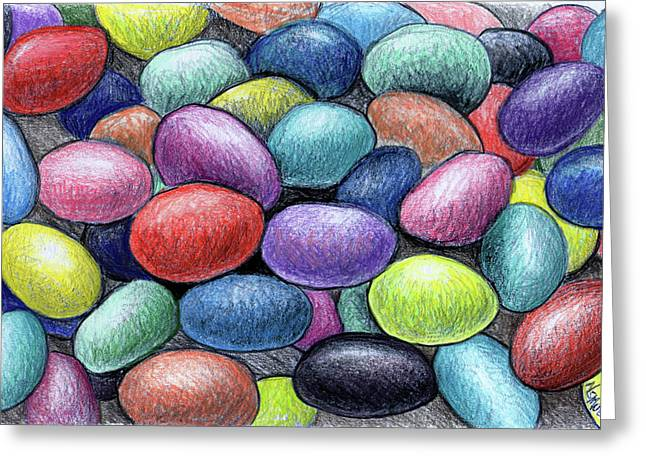 Snack Drawings Greeting Cards - Colorful Beans Greeting Card by Nancy Mueller