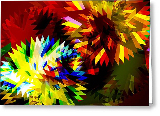Radius Saw Greeting Cards - Colorful Blade Greeting Card by Atiketta Sangasaeng