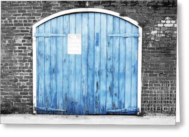 Colorful Blue Garage Door French Quarter New Orleans Color Splash Black And White And Diffuse Glow Greeting Card by Shawn O'Brien