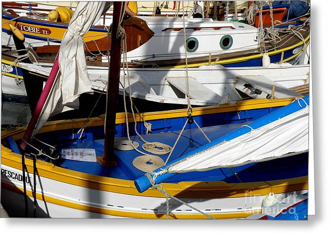 St.tropez Greeting Cards - Colorful Boats Greeting Card by Lainie Wrightson