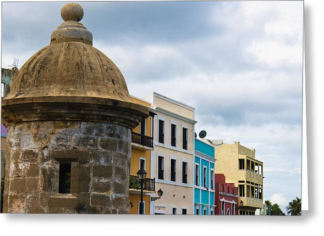 Puerto Rico Greeting Cards - Colorful Buildings on a Street in Old San Juan Greeting Card by George Oze