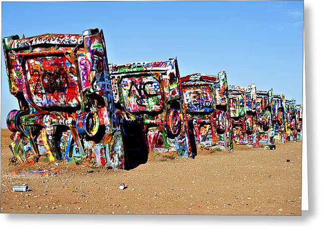 American Grafitti Greeting Cards - Colorful Cars Greeting Card by Malania Hammer