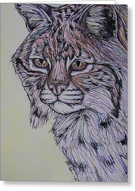 Bobcat Mixed Media Greeting Cards - Colorful Cat Greeting Card by Olivia Hoppe