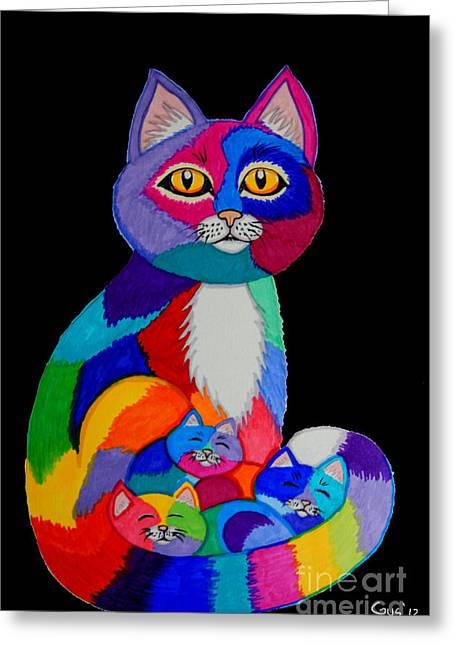 Cat Drawings Greeting Cards - Colorful Cats and Kittens Greeting Card by Nick Gustafson