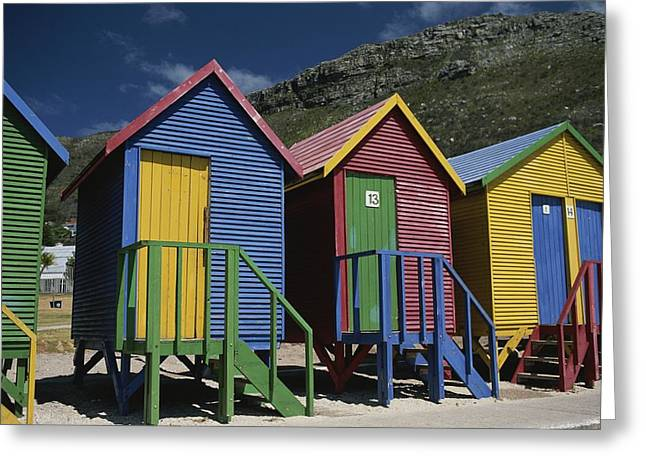 Chromatic Greeting Cards - Colorful Changing Huts Line A South Greeting Card by Tino Soriano