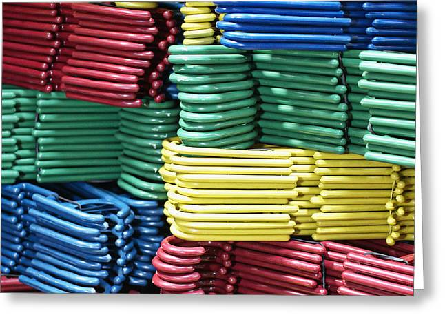 Colorful Clothes Hangers Greeting Card by Skip Nall
